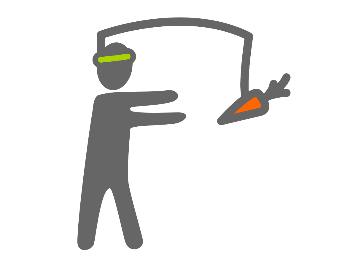 Diagram of person being motivated by carrot
