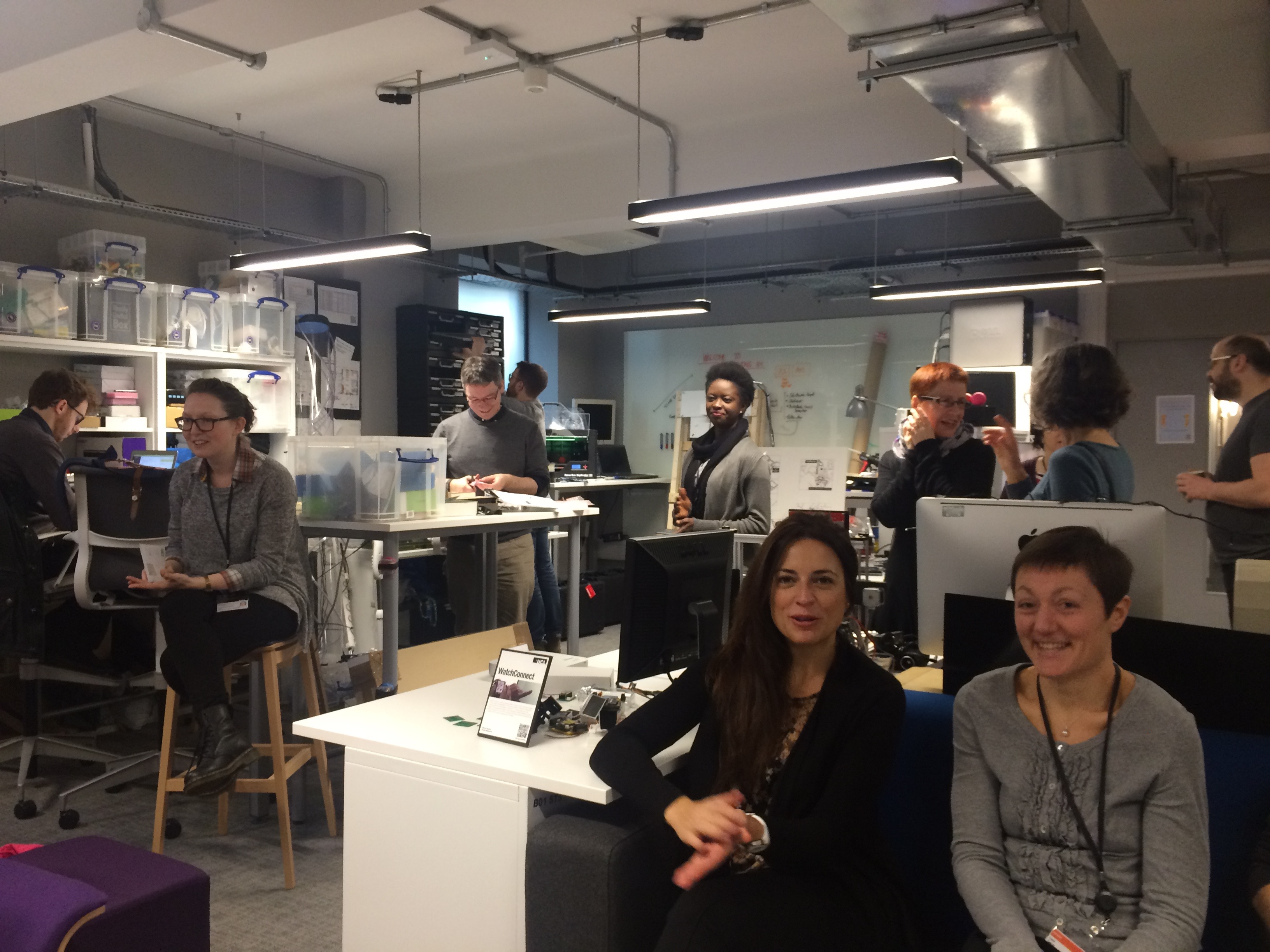 Image showing people interacting and working in the UCLIC Basement lab