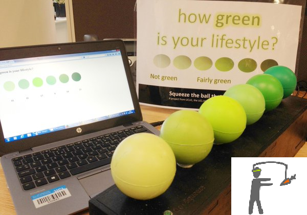 Image showing green ball prototype, which allowed people to indicate how sustainable their behaviour was on a given day