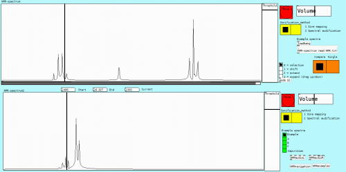 The user interface of the final version of the system with two spectra loaded in, ready for analysis.