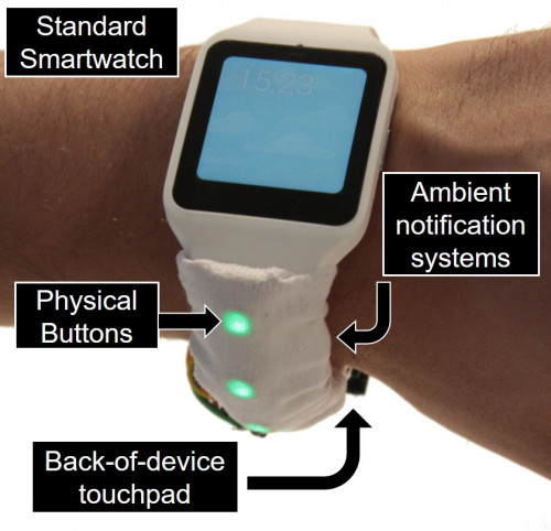 Wristband.io expands the interaction space of a smartwatch screen to the entire watchband.